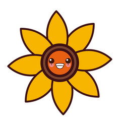 nature flower symbol kawaii cute cartoon vector image