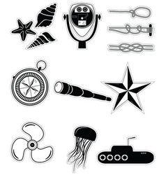 Nautical elements 2 sticker style vector