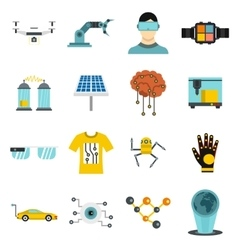 New technologies icons set flat style vector