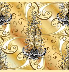 Ornamental golden textured curls golden pattern vector