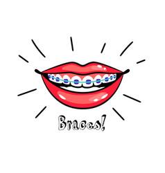 orthodontic braces icon vector image