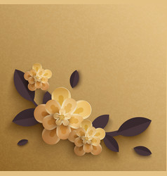 paper flowers on a gold background vector image