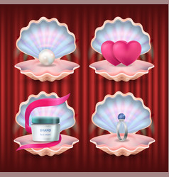 pearl and hearts engagement ring and brand lotion vector image