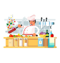 professional chef prepares in kitchen vector image