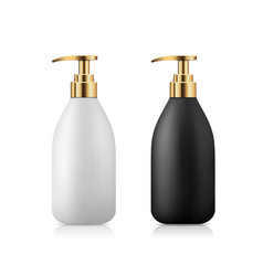 pump bottle product black and white with gold cap vector image
