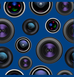 realistic detailed 3d camera lens seamless pattern vector image