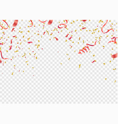 red and gold confetti serpentine or ribbons vector image