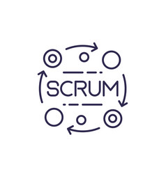 Scrum process line icon vector