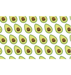 seamless pattern sliced avocado on white vector image
