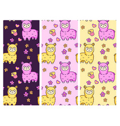 seamless patterns with cute alpacas on vector image
