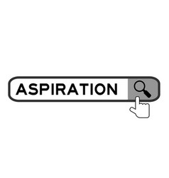 Search banner in word aspiration with hand over vector