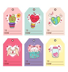 Set isolated gift valentines day tags vector