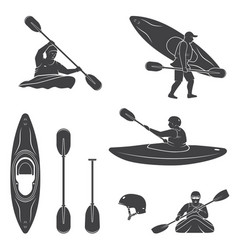 set of extrema water sports equipment kayaker and vector image