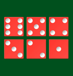 set red casino dice top view isolated on vector image