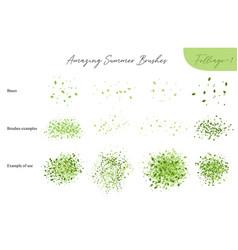 set summer foliage ecology brushes vector image