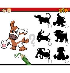 Shadows task cartoon with dogs vector