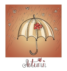 Sketch of an umbrella in the rain vector image
