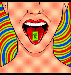 Stamp with lsd drug on tongue pop art vector
