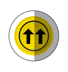 sticker yellow circular frame same direction arrow vector image