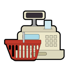supermarket cash machine with shopping basket vector image
