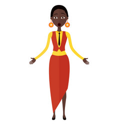 Surprised african woman throwing up his hands vector
