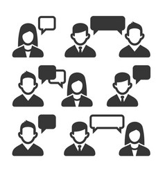 talking and speaking people icons set vector image