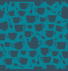 Tea cups silhouettes seamless background vector