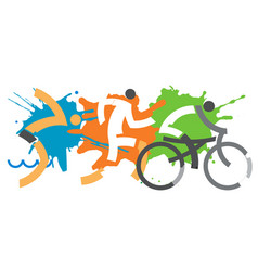 three triathlon racers vector image