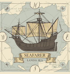 Travel banner with sailing ship and old map vector