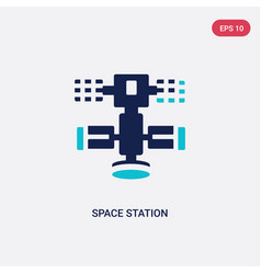 two color space station icon from astronomy vector image