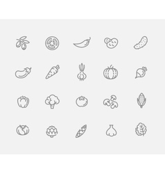 Vegetables outline icons vector image