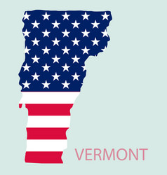 Vermont state of america with map flag print vector