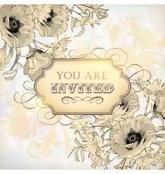 Vintage Floral Invitation Card vector