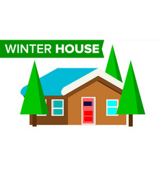 Winter house wooden home with snow forest vector