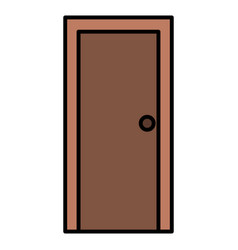 Wooden door closed isolated icon vector