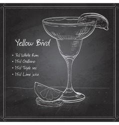 Yellow Bird is a cocktail on black board vector
