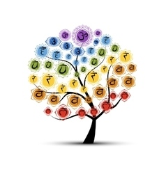 Yoga tree with chakras sketch foy your design vector