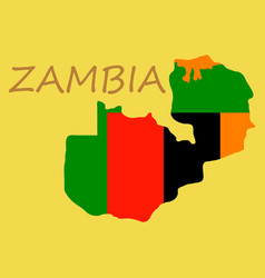 Zambia map and flag in white background vector