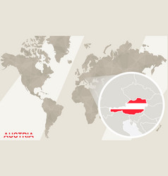 Zoom on austria map and flag world map vector