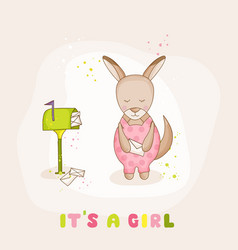 baby girl kangaroo with mail - baby shower card vector image vector image