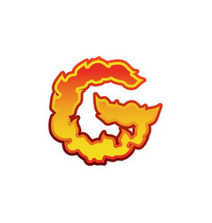 letter g fire flames font lettering tattoo vector image
