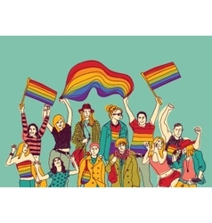 Lgbt happy gay meeting people group and sky vector image vector image