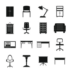 office furniture icons set simple style vector image