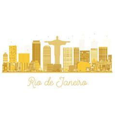 rio de janeiro city skyline golden silhouette vector image vector image