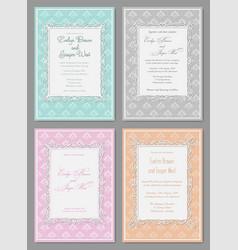 Set of elegant wedding invitation in pastel vector