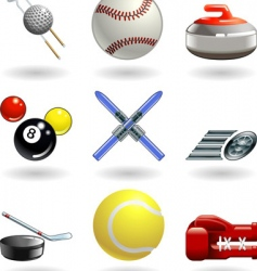 shiny sports icon set series vector image vector image