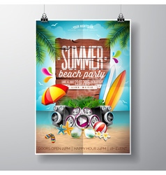 Summer nature floral elements surf board vector image vector image
