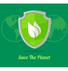 green shield with leaves vector image vector image
