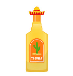 tequila bottle icon flat cartoon style isolated vector image