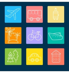 Travel flat icons stock vector image vector image